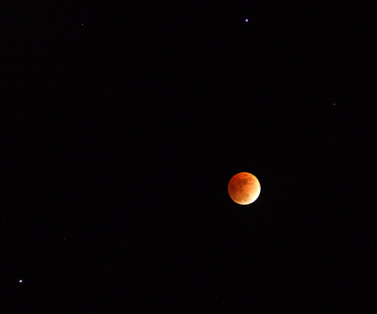 Eclipsed Moon with Saturn