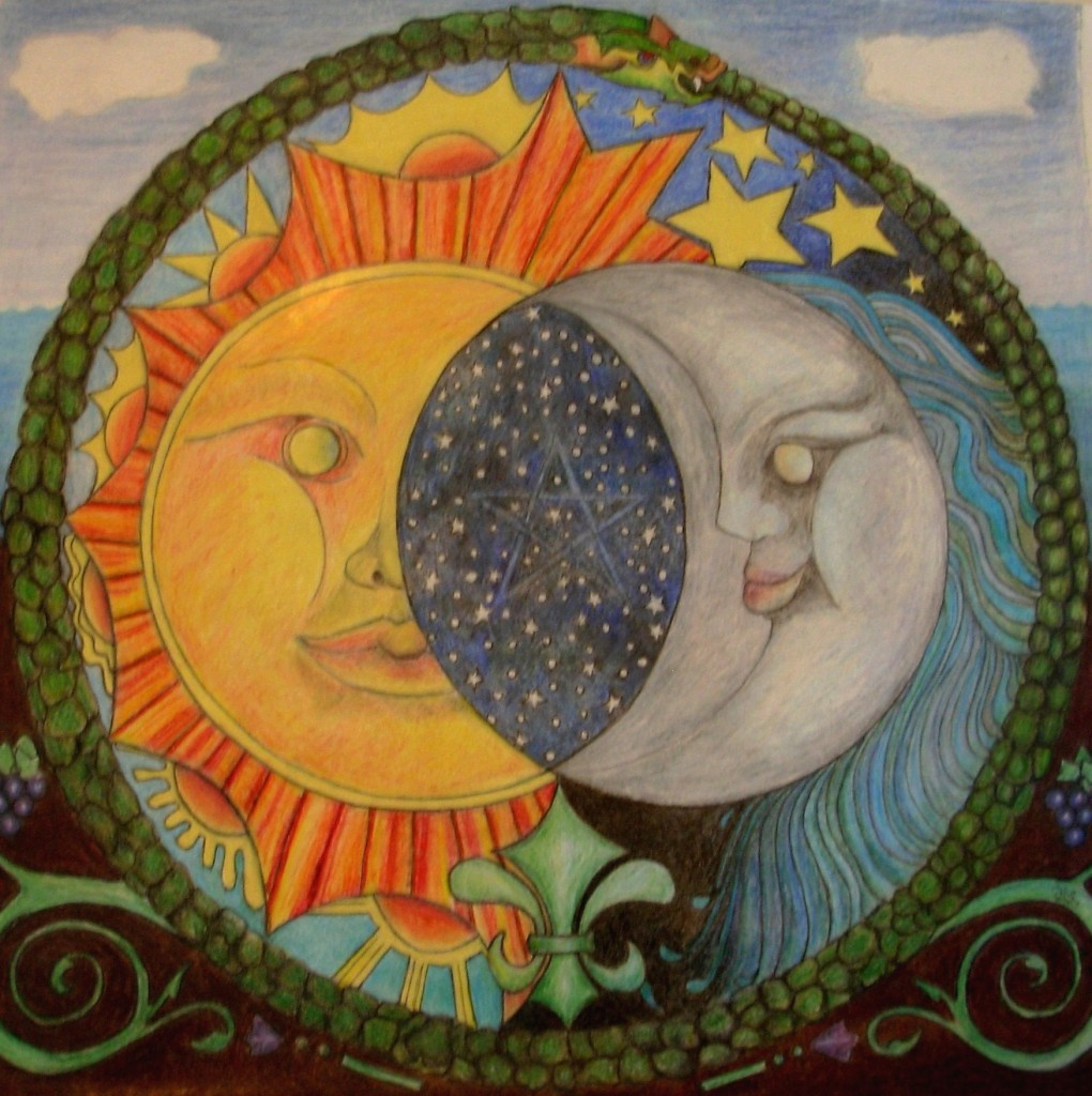 drawing of Sun Moon embracing