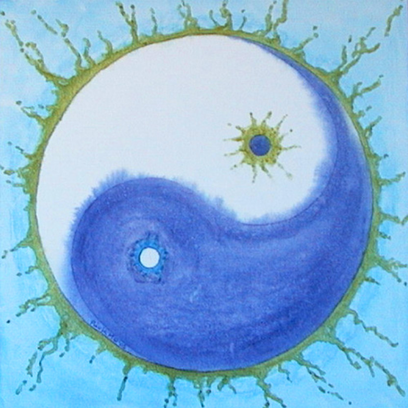 blue white and turquoise yin yang symbol
