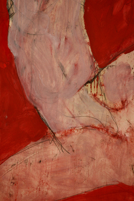 sensual abstract figures on red background